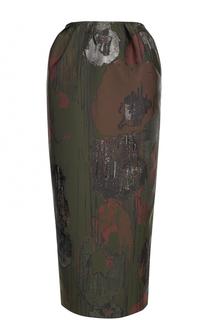 Юбка-миди с разрезом и контрастной отделкой Vika Gazinskaya