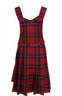 Шерстяное платье в клетку с поясом Comme des Garcons