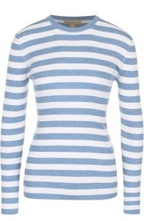 Облегающий пуловер фактурной вязки в полоску Michael Kors