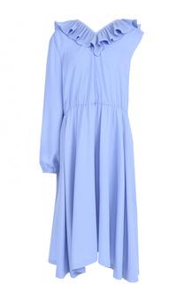 Платье асимметричного кроя с плиссированной оборкой Vetements