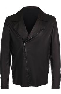 Кожаная куртка с косой молнией Salvatore Santoro
