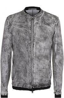 Кожаная куртка на молнии с хлопковыми манжетами Salvatore Santoro