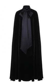 Бархатное пальто свободного кроя с шелковым воротником аскот Dolce & Gabbana