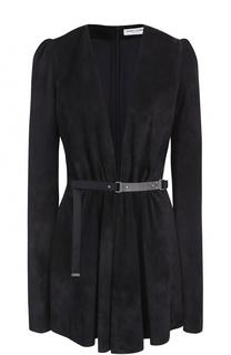 Замшевое мини-платье с глубоким V-образным вырезом и длинным рукавом Saint Laurent