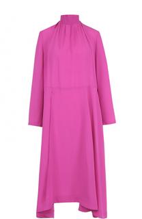 Шелковое платье асимметричного кроя с воротником-стойкой Balenciaga