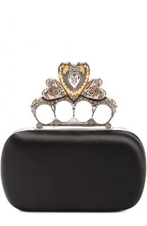 Атласный клатч Heart Short с отделкой кристаллами Alexander McQueen