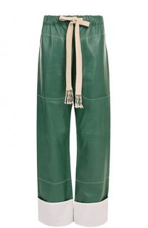 Кожаные брюки прямого кроя с эластичным поясом и карманами Loewe