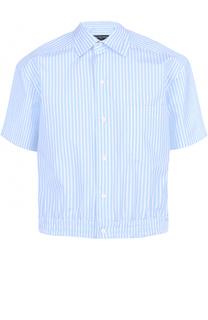 Хлопковая рубашка с короткими рукавами и поясом на резинке Balenciaga