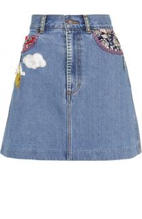 Джинсовая мини-юбка с нашивками Marc Jacobs