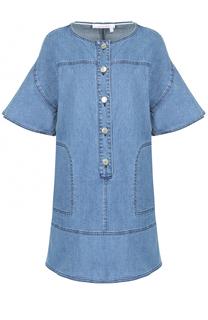 Джинсовое мини-платье прямого кроя с укороченным рукавом See by Chloé