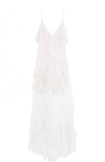 Кружевное платье асимметричного кроя с оборками Alice + Olivia