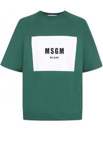 Хлопковый свитшот с короткими рукавами MSGM