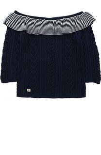 Пуловер фактурной вязки с оборкой и открытыми плечами Polo Ralph Lauren