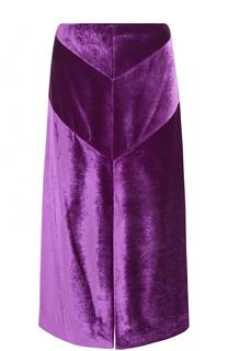 Бархатная юбка-миди с разрезом Nina Ricci