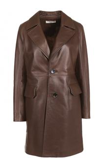 Кожаное укороченное пальто с широкими лацканами Bally