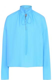 Шелковая блуза свободного кроя с воротником-стойкой Balenciaga