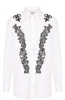 Хлопковая сорочка с контрастной вышивкой Alexander McQueen
