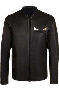 Кожаная куртка на молнии с отделкой Bag Bugs Fendi
