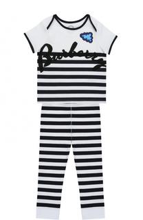 Пижама из хлопка с принтом Burberry