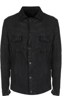 Кожаная куртка на пуговицах с эффектом крэш Salvatore Santoro