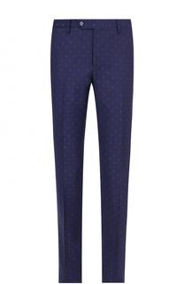 Шерстяные брюки прямого кроя с принтом Germano