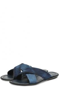 Кожаные шлепанцы с отделкой из денима Doucals