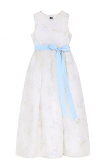 Платье-макси с принтом и широким поясом Oscar de la Renta