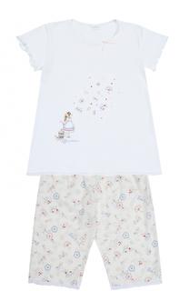 Пижама из хлопка с принтом и декором La Perla