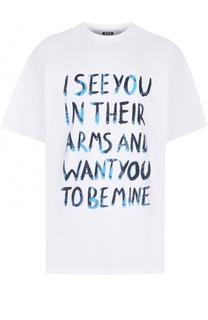 Хлопковая футболка свободного кроя с контрастной надписью MSGM