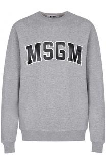 Свитшот из смеси хлопка и вискозы с логотипом бренда MSGM