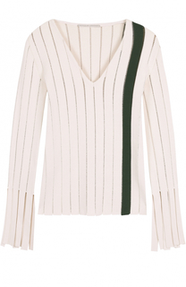 Облегающий пуловер с перфорацией и V-образным вырезом Marco de Vincenzo