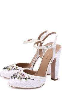 Текстильные туфли с кристаллами на устойчивом каблуке Le Silla