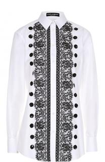 Приталенная хлопковая блуза с контрастной кружевной отделкой Dolce & Gabbana