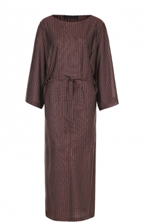 Шелковое платье в полоску с поясом и высокими разрезами The Row