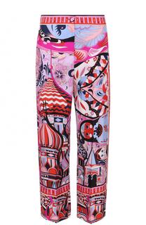 Шелковые брюки прямого кроя с ярким принтом Emilio Pucci