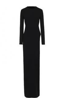 Приталенное платье-макси с длинным рукавом и высоким разрезом Tom Ford