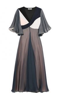 Шелковое платье-миди с укороченным рукавом Lanvin