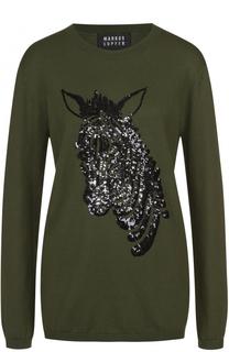 Пуловер прямого кроя с круглым вырезом и вышивкой стразами Markus Lupfer