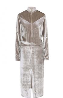 Приталенное бархатное платье на молнии Nina Ricci