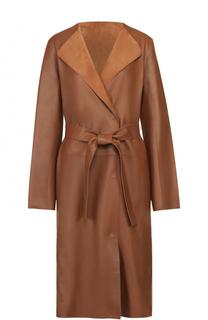 Кожаное пальто прямого кроя с поясом Yves Salomon
