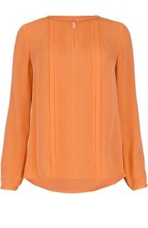 Шелковая блуза с вырезом-лодочка и фактурной отделкой Diane Von Furstenberg
