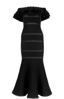 Вечернее платье в пол с юбкой годе и перфорацией Alexander McQueen