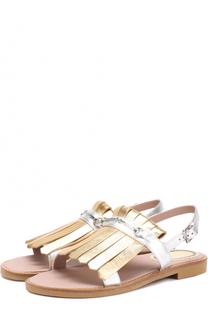 Сандалии из металлизированной кожи с бахромой Gucci