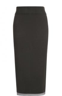 Вязаная юбка-миди асимметричного кроя DKNY