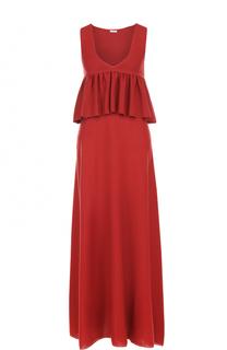 Платье-макси с завышенной талией и оборкой malo