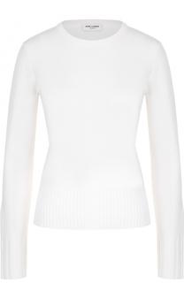Пуловер прямого кроя с круглым вырезом и декоративной отделкой Saint Laurent