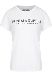 Хлопковая футболка с контрастным логотипом бренда Denim&Supply by Ralph Lauren