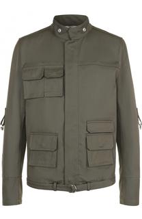 Хлопковая куртка на молнии с накладными карманами и воротником-стойкой Valentino