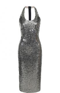 Приталенное платье-миди с пайетками и открытой спиной Tom Ford