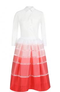Платье-рубашка с юбкой в контрастную полоску sara roka